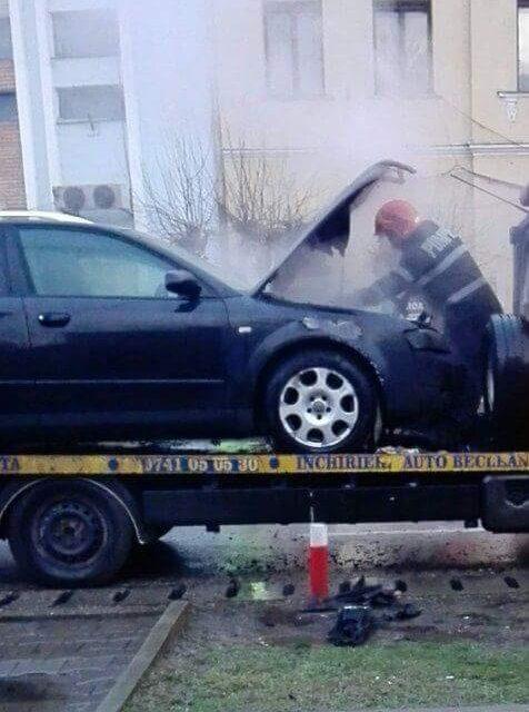 Incendiu la un autoturism care se afla pe o platformă în centrul Becleanului – FOTO&VIDEO