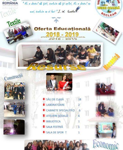 """Iată care este oferta educațională a Liceului Tehnologic """"Henri Coandă"""" Beclean pentru anul școlar 2018-2019"""