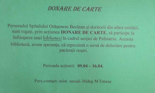 Premieră la Spitalul Orășenesc Beclean! Toți beclenarii sunt rugați să doneze cărți pentru înființarea unei biblioteci în cadrul secției de Psihiatrie