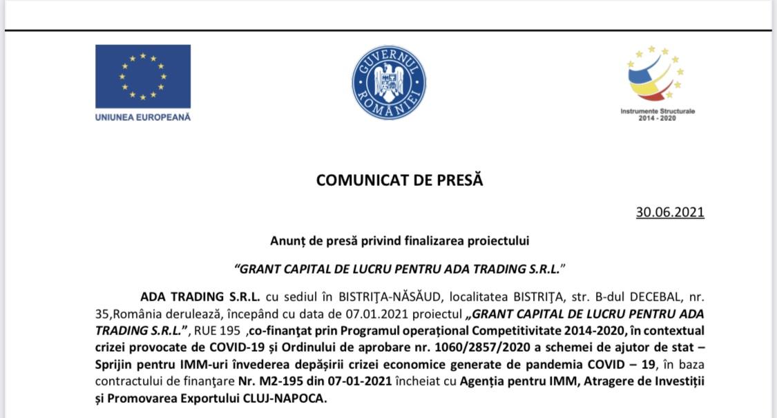 """Finalizarea proiectului """"GRANT CAPITAL DE LUCRU PENTRU ADA TRADING S.R.L."""""""